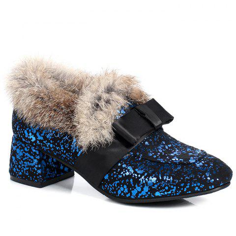 Glitter Bow Splicing Fur Ankle Boots
