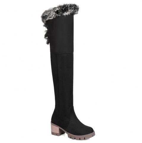 Chunky Heel Tie Back Thigh High Boots
