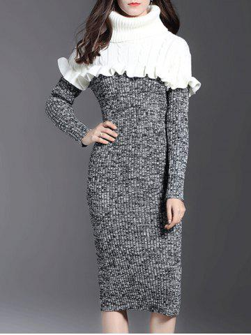 Sale Turtle Neck Ruffle Bodycon Sweater Dress