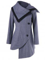 Oblique Button High Low Tunic Wool Coat -