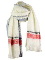 Outdoor Striped Pattern Embellished Fringed Chunky Scarf -