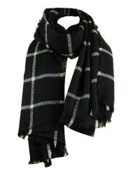 Vintage Checked Pattern Faux Wool Fringed Long Scarf -