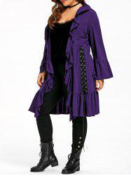 Plus Size Gothic Ruffle Lace Up Coat -