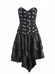 Tier Flounce Skulls Print Corset Dress -