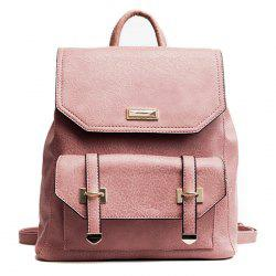 PU Leather Metal Embellishment Backpack -