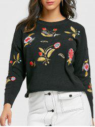 Crew Neck Floral Embroidered Pullover Sweater -