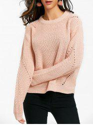 Crew Neck Hollow Out Knit Chunky Sweater -