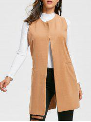 Open Front Back Slit Vest -