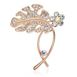 Rhinestoned Floral Leaf Brooch -