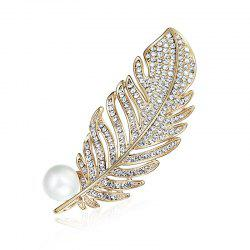 Faux Pearl Rhinestone Feather Brooch -