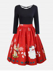 Plus Size Christmas Criss Cross Print Dress -