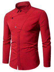 Covered Botton Long Sleeve Panel Shirt -