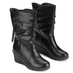 Wedge Heel Ruched Mid Calf Boots -