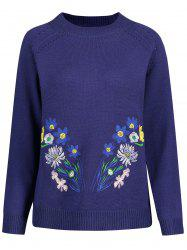 Openwork Plus Size High Neck Floral Embroidered Sweater -