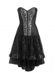 Zip Jacquard Plus Size Two Piece Corset Dress -