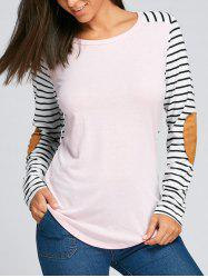 Elbow Patch Striped Long Sleeve Top -