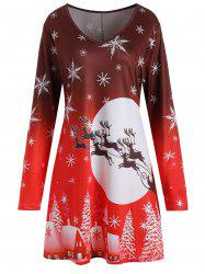 Christmas Snowflake Sled Moon Print Plus Size T Shirt Dress -