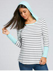 Hooded Striped Long Sleeve Top -