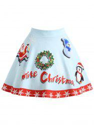 Christmas Garland Snowman Santa Claus Plus Size Skirt -