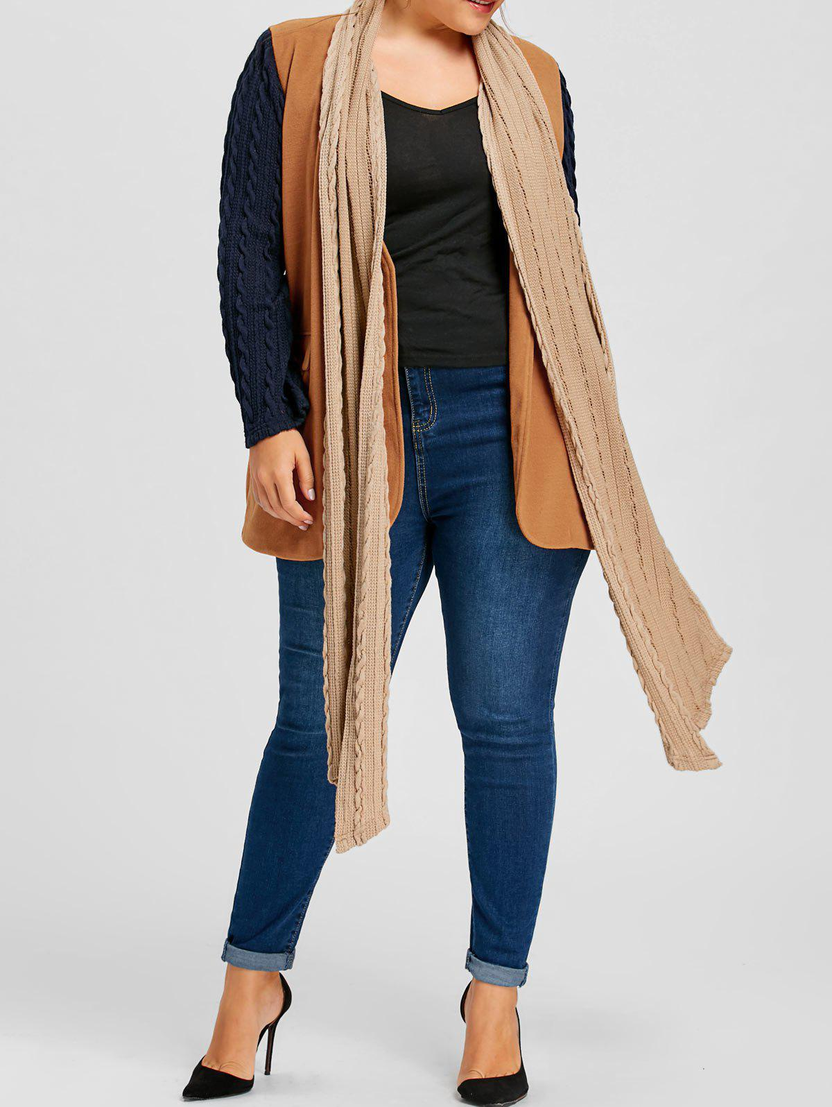 Affordable Plus Size Cable Knit Shawl Collar Coat