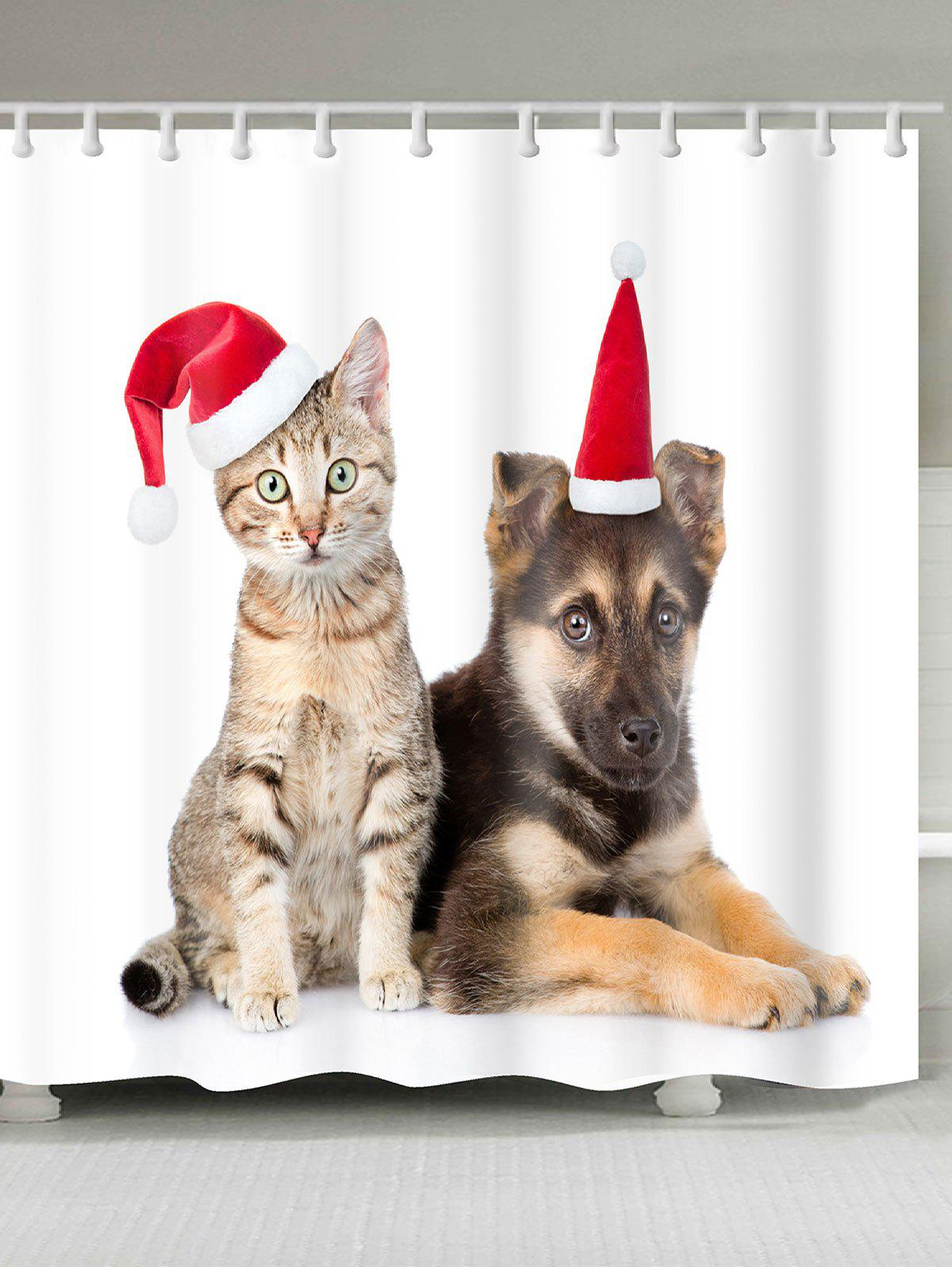 Christmas Cat And Dog Patterned Shower CurtainHOME<br><br>Size: W71 INCH * L79 INCH; Color: WHITE; Products Type: Shower Curtains; Materials: Polyester; Pattern: Animal; Style: Festival; Number of Hook Holes: W59 inch * L71 inch:10, W71 inch * L71 inch:12, W71 inch * L79 inch:12; Package Contents: 1 x Shower Curtain 1 x Hooks (Set);