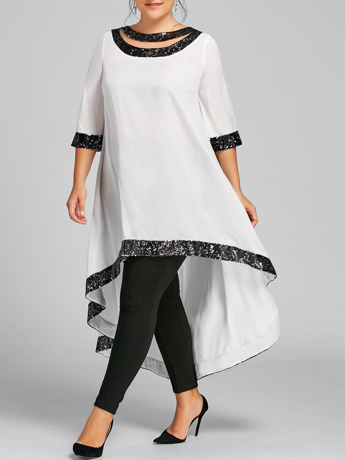 Plus Size Sequined Trim High Low DressWOMEN<br><br>Size: 3XL; Color: OFF-WHITE; Style: Brief; Material: Polyester; Silhouette: A-Line; Dresses Length: Knee-Length; Neckline: Boat Neck; Sleeve Length: 3/4 Length Sleeves; Embellishment: Sequined; Pattern Type: Solid; With Belt: No; Season: Fall,Spring; Weight: 0.3500kg; Package Contents: 1 x Dress;