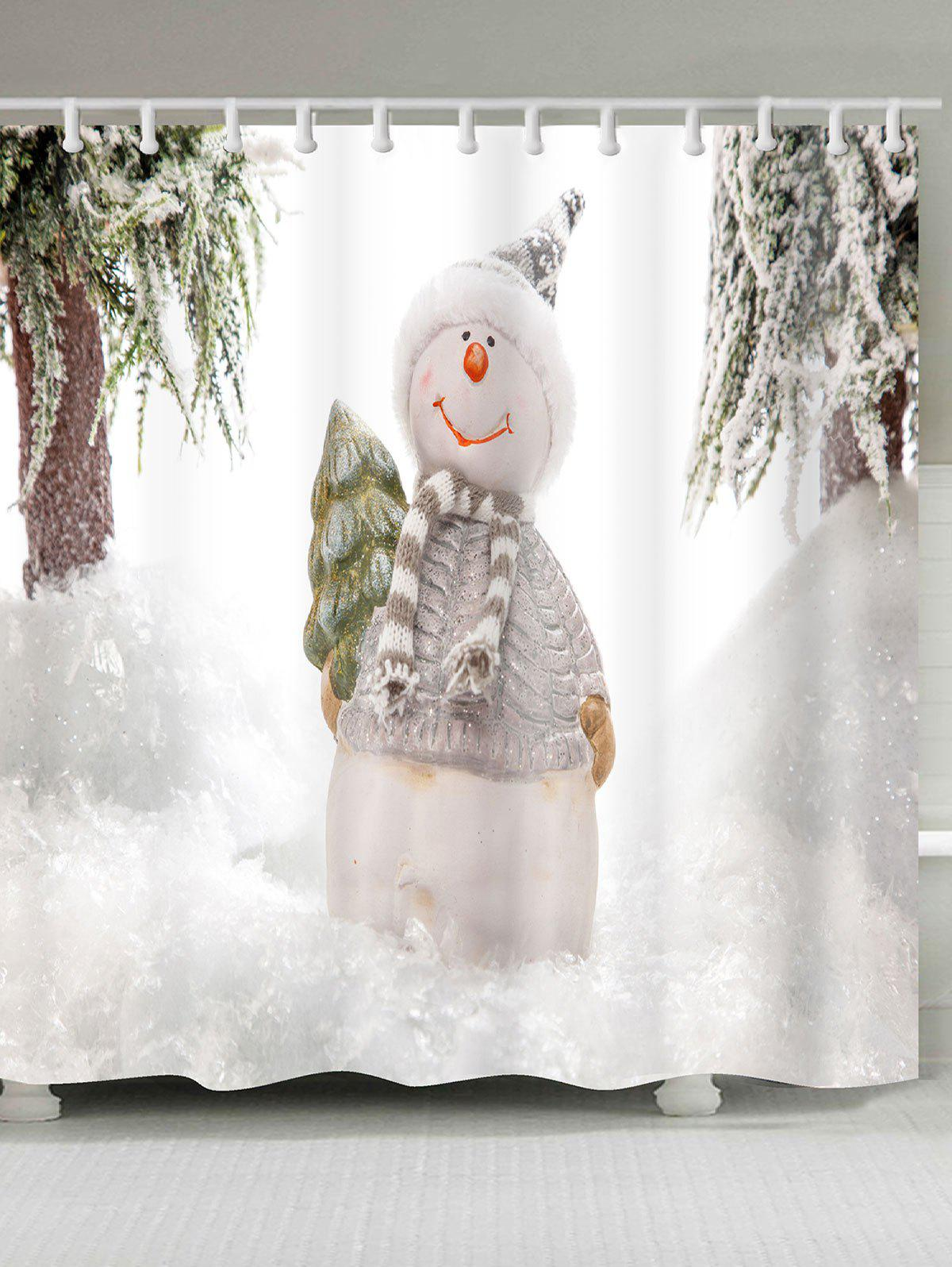 Snowy Christmas Snowman Pattern Shower Bath CurtainHOME<br><br>Size: W71 INCH * L79 INCH; Color: WHITE; Products Type: Shower Curtains; Materials: Polyester; Pattern: Snow,Snowman; Style: Festival; Number of Hook Holes: W59 inch * L71 inch:10, W71 inch * L71 inch:12, W71 inch * L79 inch:12; Package Contents: 1 x Shower Curtain 1 x Hooks (Set);