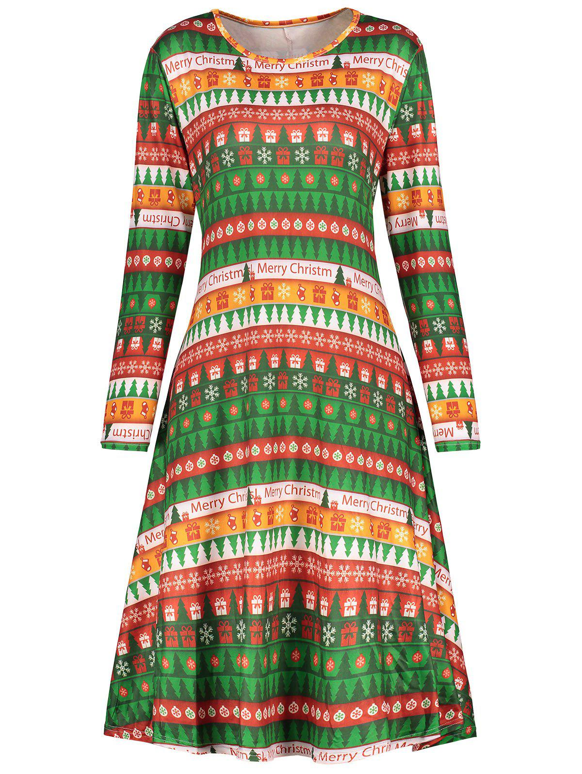 Christmas Plus Size Tree Printed Tee DressWOMEN<br><br>Size: 2XL; Color: GREEN; Style: Casual; Material: Polyester; Silhouette: A-Line; Dresses Length: Mini; Neckline: Round Collar; Sleeve Length: Long Sleeves; Pattern Type: Plant,Print; With Belt: No; Season: Fall,Winter; Weight: 0.3600kg; Package Contents: 1 x Dress;