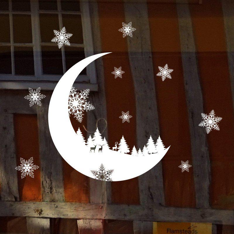 Christmas Cresent Snowflake Pattern Wall Stickers For BedroomHOME<br><br>Color: WHITE; Wall Sticker Type: Plane Wall Stickers; Functions: Decorative Wall Stickers; Theme: Christmas; Pattern Type: Moon; Material: PVC; Feature: Removable; Weight: 0.0875kg; Package Contents: 1 x Wall Stickers;