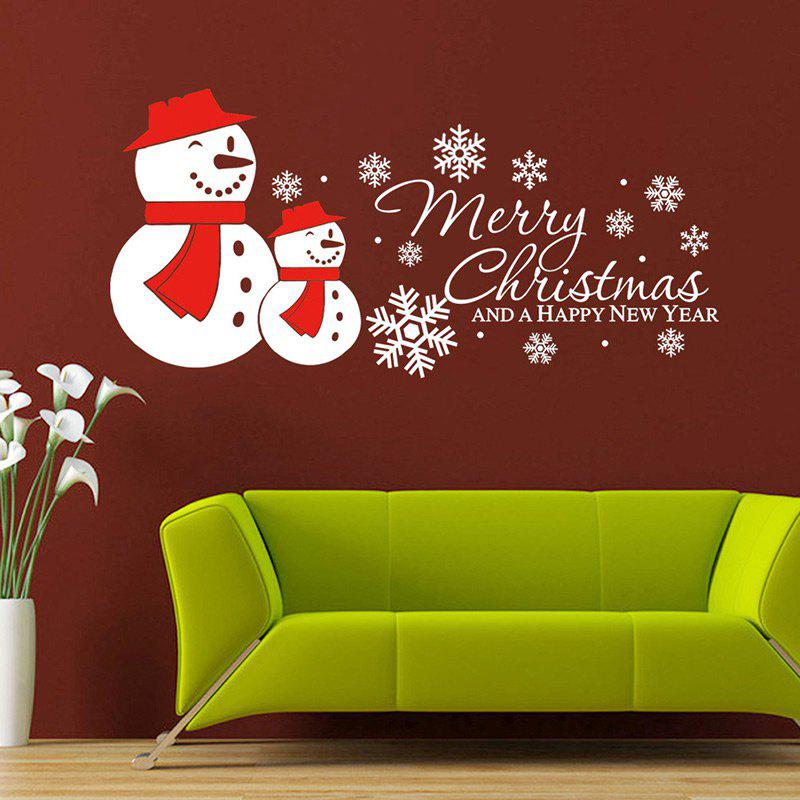 Christmas Snowmen Snowflake Pattern Wall Art Sticker For BedroomHOME<br><br>Color: WHITE; Wall Sticker Type: Plane Wall Stickers; Functions: Decorative Wall Stickers; Theme: Christmas; Pattern Type: Letter,Snowman; Material: PVC; Feature: Removable; Weight: 0.1200kg; Package Contents: 1 x Wall Stickers;