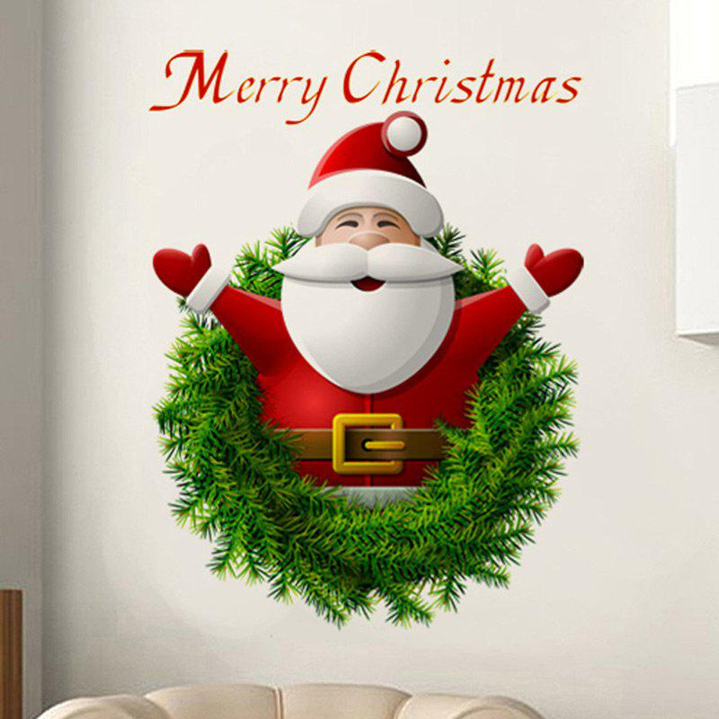 Christmas Santa Wreath Pattern Wall Art Sticker For BedroomHOME<br><br>Color: COLORMIX; Wall Sticker Type: Plane Wall Stickers; Functions: Decorative Wall Stickers; Theme: Christmas; Pattern Type: Letter,Santa Claus; Material: PVC; Feature: Removable; Weight: 0.0700kg; Package Contents: 1 x Wall Stickers;