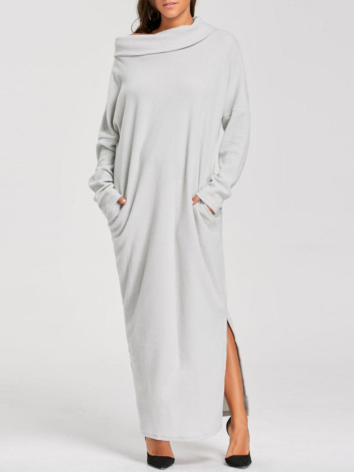 Pocket Turtleneck Long Sleeve Floor Length DressWOMEN<br><br>Size: XL; Color: LIGHT GRAY; Style: Casual; Material: Cotton Blend,Polyester; Silhouette: Straight; Dresses Length: Floor-Length; Neckline: Convertible Collar; Sleeve Length: Long Sleeves; Pattern Type: Solid; With Belt: No; Season: Fall,Winter; Weight: 0.3900kg; Package Contents: 1 x Dress;