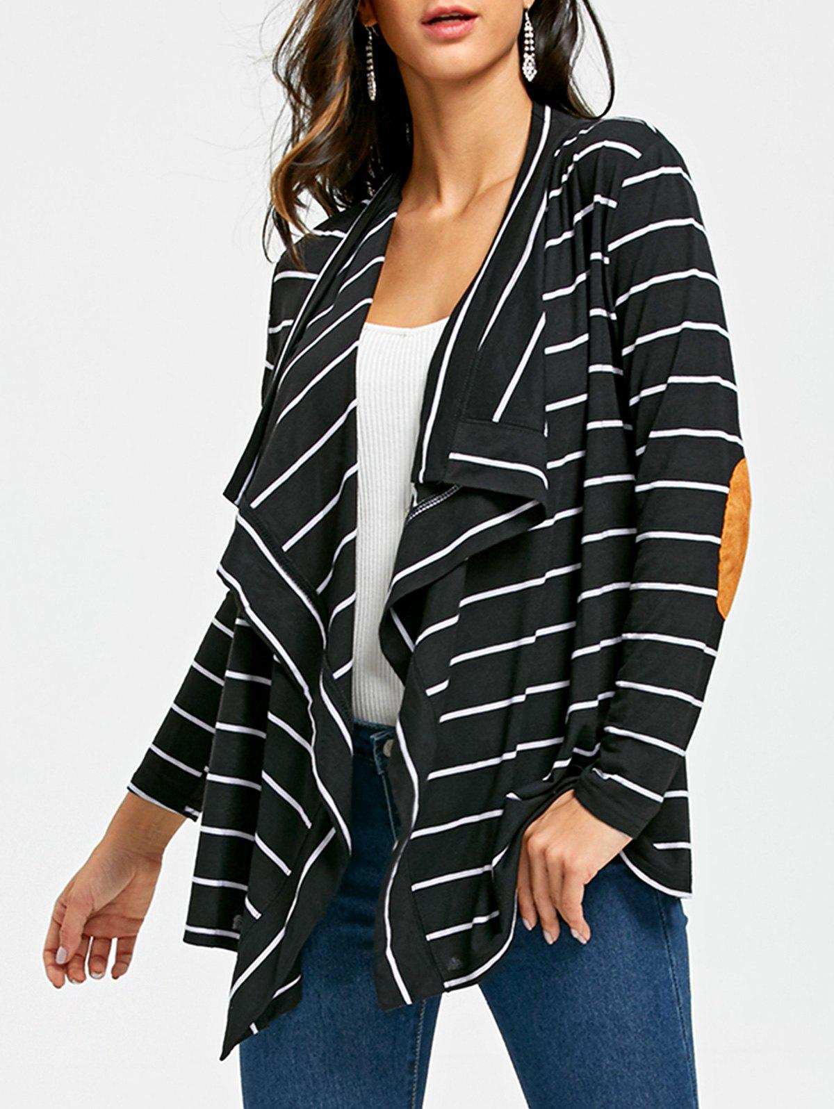 New Elbow Patch Striped Cardigan