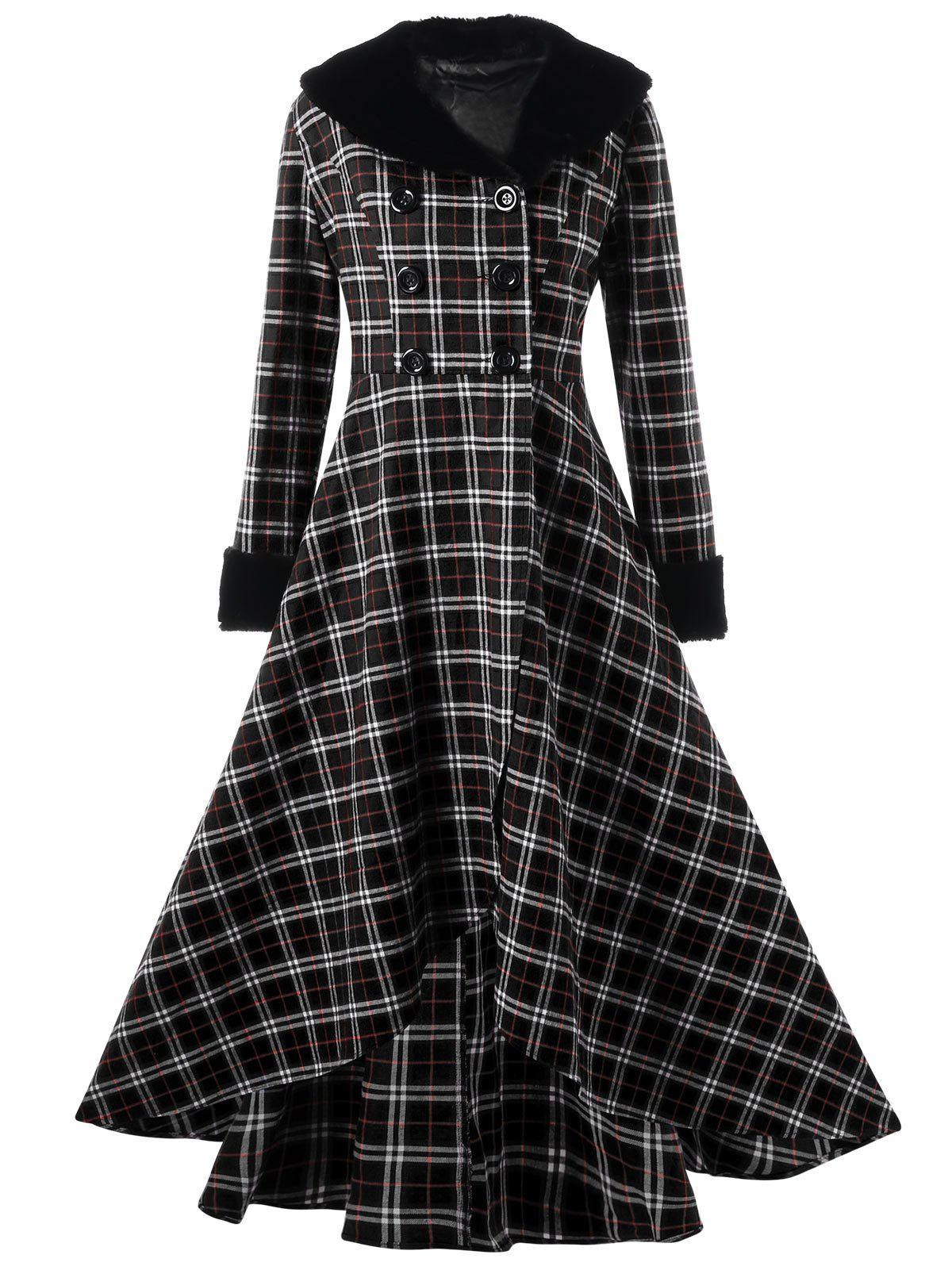 Latest Plus Size Double Breasted Checked Swing Coat