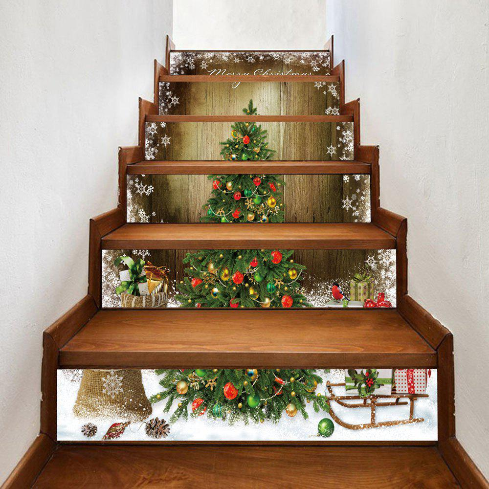 Christmas tree woodgrain pattern decorative stair stickers