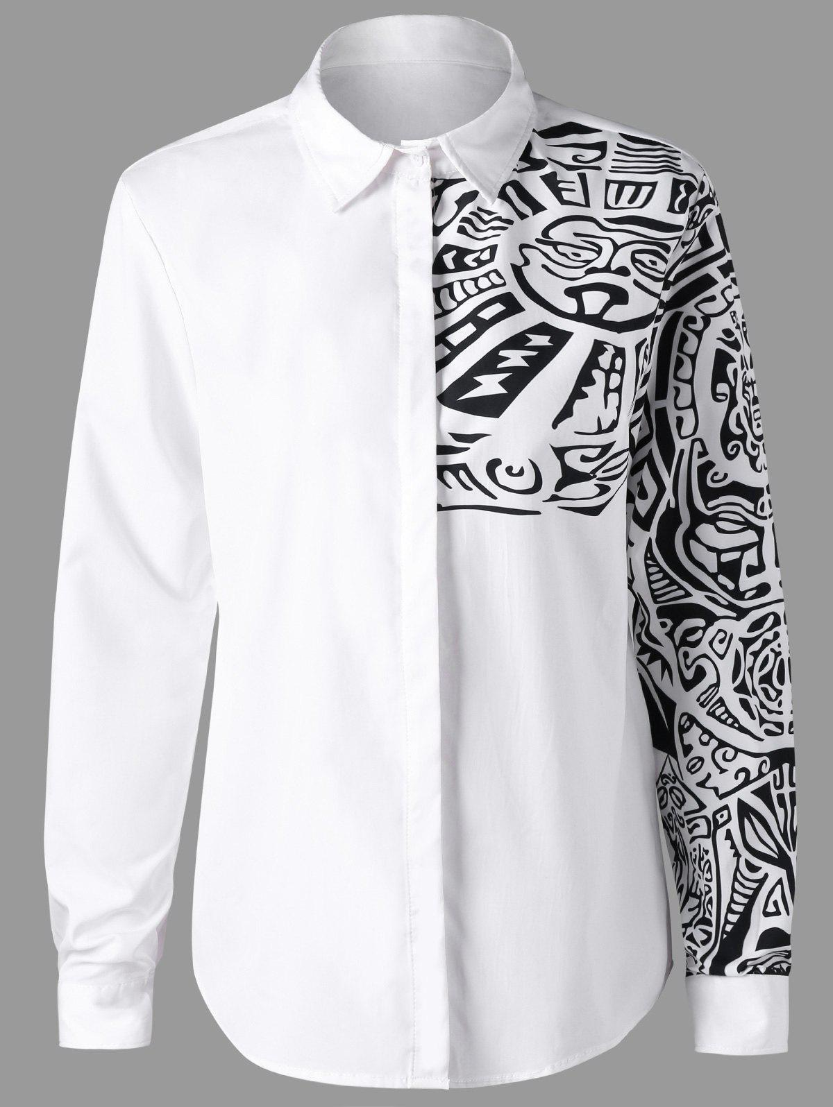 Long Sleeves Ethnic Totem Pattern ShirtMEN<br><br>Size: 2XL; Color: WHITE; Shirts Type: Casual Shirts; Material: Polyester; Sleeve Length: Full; Collar: Turn-down Collar; Pattern Type: Graphic; Weight: 0.2170kg; Package Contents: 1 x Shirt;