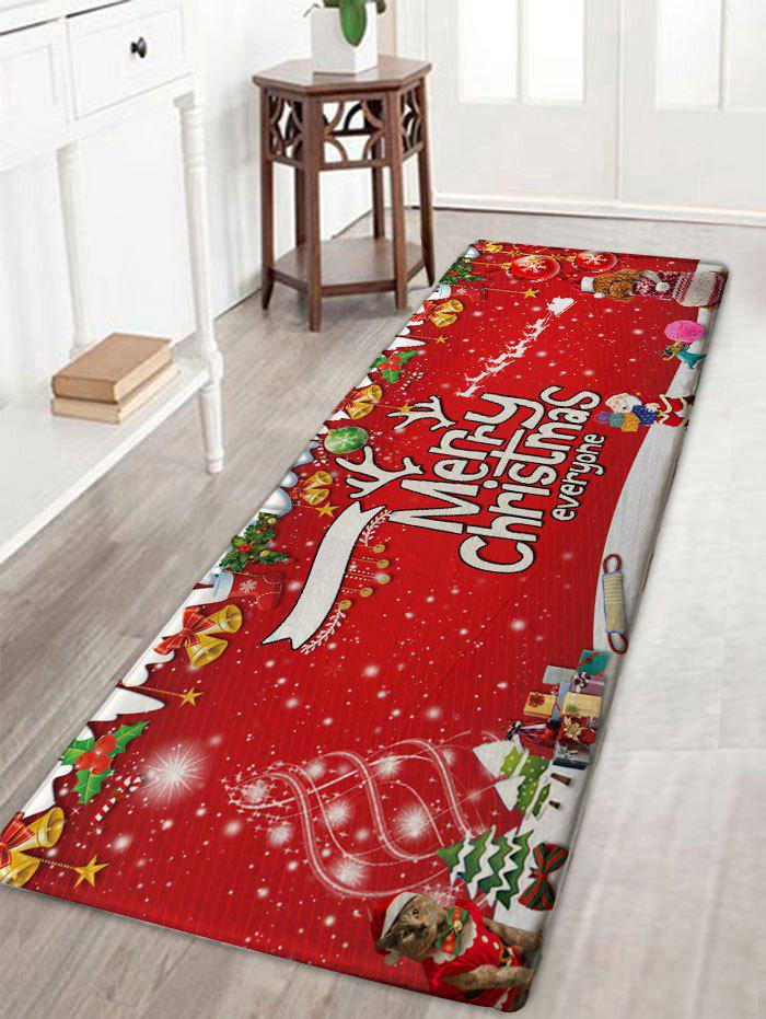 Merry Christmas Printed Flannel Nonslip Bath RugHOME<br><br>Size: W16 INCH * L47 INCH; Color: RED; Products Type: Bath rugs; Materials: Flannel; Style: Festival; Shape: Rectangular; Package Contents: 1 x Rug;