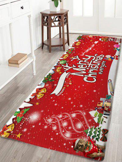 Merry Christmas Printed Flannel Nonslip Bath RugHOME<br><br>Size: W24 INCH * L71 INCH; Color: RED; Products Type: Bath rugs; Materials: Flannel; Style: Festival; Shape: Rectangular; Package Contents: 1 x Rug;