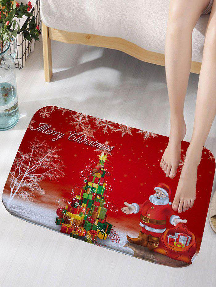 Santa Claus Christmas Gift Print Skidproof Flannel Bath RugHOME<br><br>Size: W16 INCH * L24 INCH; Color: RED; Products Type: Bath rugs; Materials: Flannel; Pattern: Gift,Santa Claus; Style: Festival; Shape: Rectangular; Package Contents: 1 x Rug;