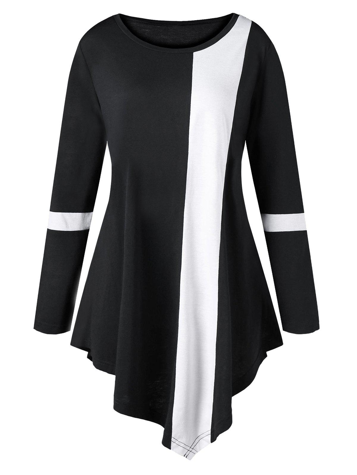 Plus Size Asymmetric Two Tone Color TopWOMEN<br><br>Size: 5XL; Color: BLACK; Material: Polyester,Spandex; Shirt Length: Long; Sleeve Length: Full; Collar: Round Neck; Style: Fashion; Season: Fall,Spring; Pattern Type: Others; Weight: 0.3030kg; Package Contents: 1 x Top;