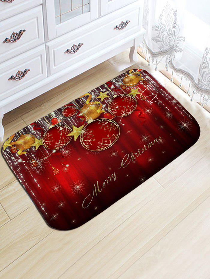Christmas Balls Print Skidproof Flannel Bath RugHOME<br><br>Size: W20 INCH * L31.5 INCH; Color: DARK RED; Products Type: Bath rugs; Materials: Flannel; Pattern: Ball; Style: Festival; Shape: Rectangular; Package Contents: 1 x Rug;