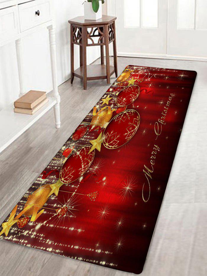 Christmas Balls Print Skidproof Flannel Bath RugHOME<br><br>Size: W16 INCH * L47 INCH; Color: DARK RED; Products Type: Bath rugs; Materials: Flannel; Pattern: Ball; Style: Festival; Shape: Rectangular; Package Contents: 1 x Rug;