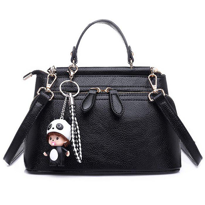 PU Leather Cartoon Pendant Crossbody BagSHOES &amp; BAGS<br><br>Color: BLACK; Handbag Type: Crossbody bag; Style: Fashion; Gender: For Women; Pattern Type: Solid; Handbag Size: Small(20-30cm); Closure Type: Zipper; Occasion: Versatile; Main Material: PU; Weight: 0.6000kg; Package Contents: 1 x Crossbody Bag; Package Size(L x W x H): 30.00 x 5.00 x 20.00 cm / 11.81 x 1.97 x 7.87 inches;