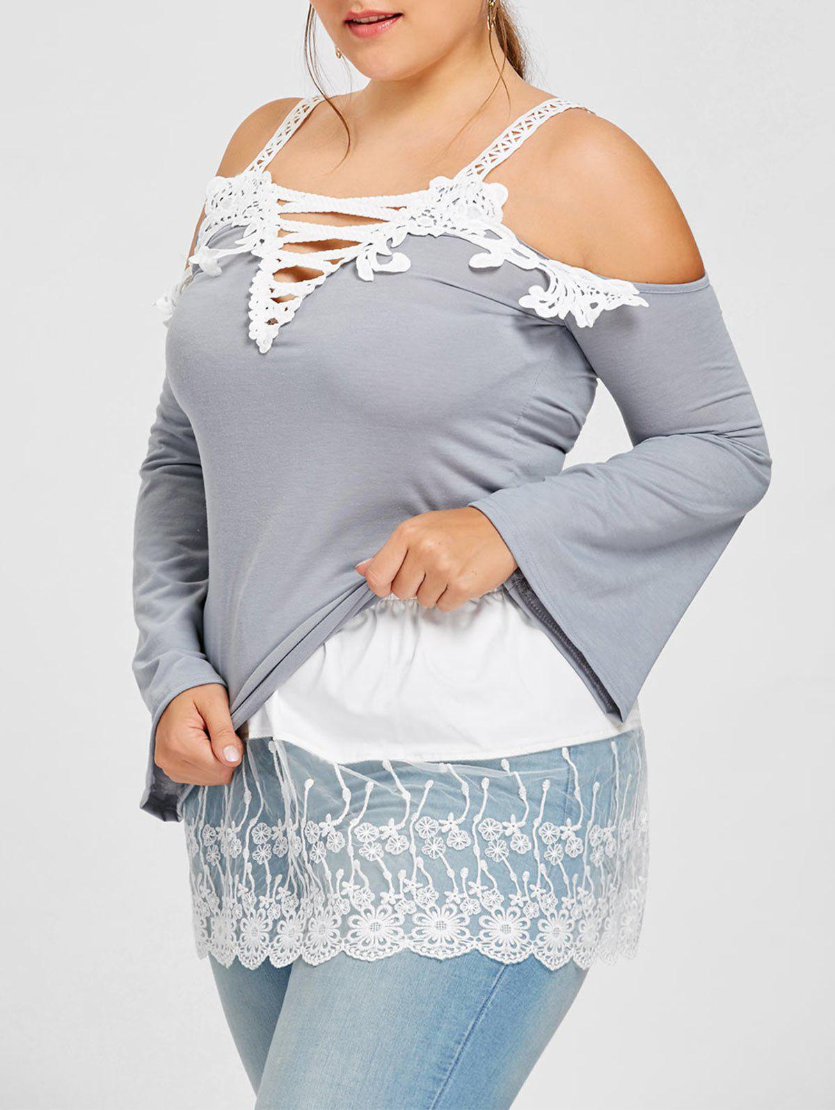 Semi Sheer Floral Lace Extender Plus Size SkirtWOMEN<br><br>Size: 4XL; Color: WHITE; Material: Polyester; Length: Mini; Silhouette: Bodycon; Pattern Type: Solid; Embellishment: Embroidery,Lace; Season: Fall,Winter; Weight: 0.1700kg; Package Contents: 1 x Skirt;
