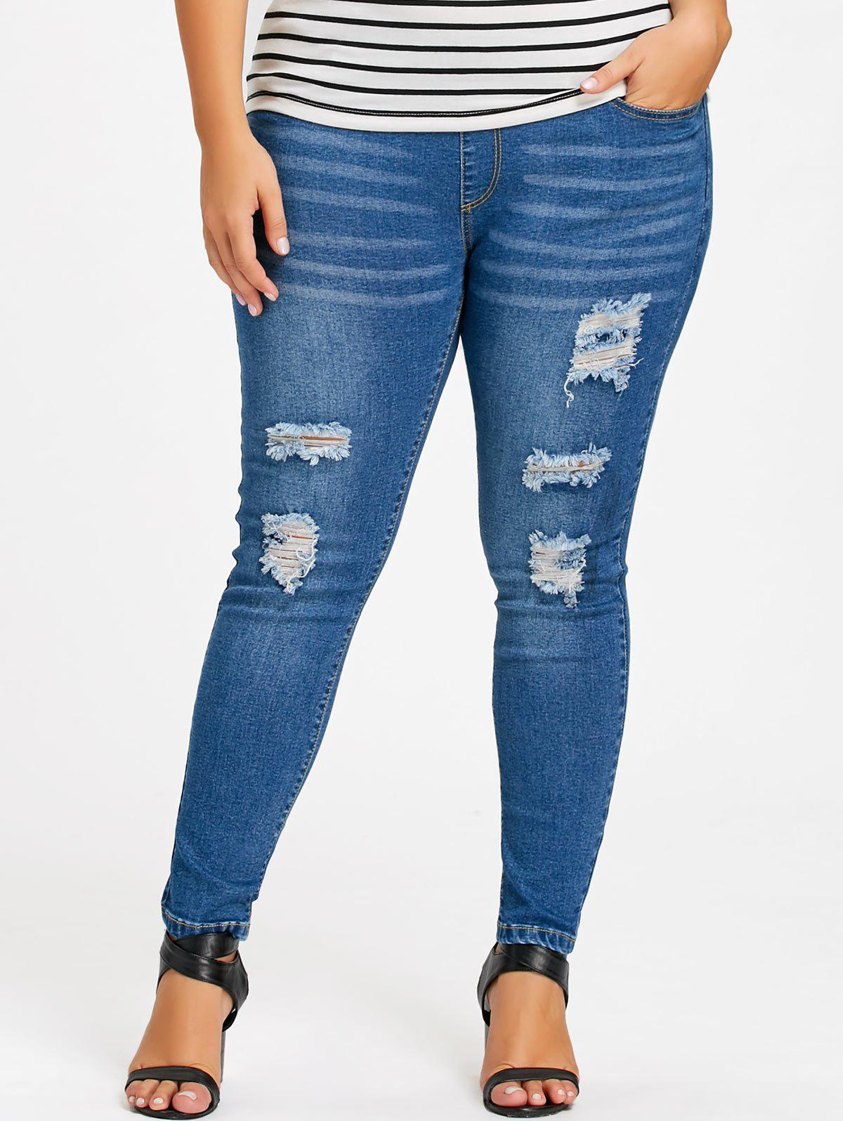 Plus Size Destroyed Tight JeansWOMEN<br><br>Size: 3XL; Color: DENIM BLUE; Style: Casual; Length: Normal; Material: Polyester; Fit Type: Skinny; Waist Type: Mid; Closure Type: Elastic Waist; Pattern Type: Solid; Embellishment: Frayed; Pant Style: Pencil Pants; Weight: 0.5500kg; Package Contents: 1 x Jeans;