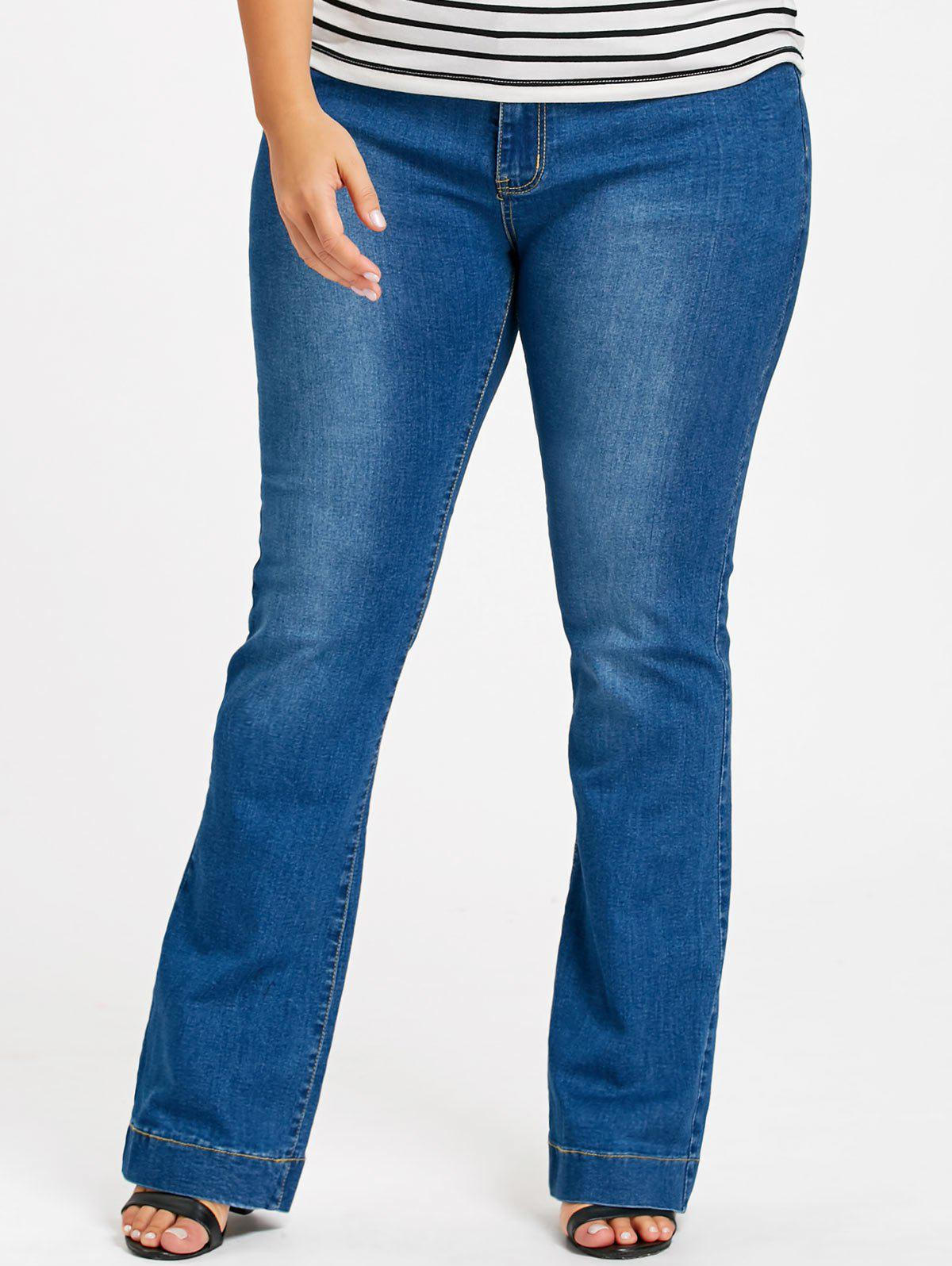 Plus Size Longline Flare JeansWOMEN<br><br>Size: 3XL; Color: DENIM BLUE; Style: Casual; Length: Overlength; Material: Polyester; Fit Type: Regular; Waist Type: Mid; Closure Type: Zipper Fly; Pattern Type: Solid; Pant Style: Flare Pants; Weight: 0.6400kg; Package Contents: 1 x Jeans;