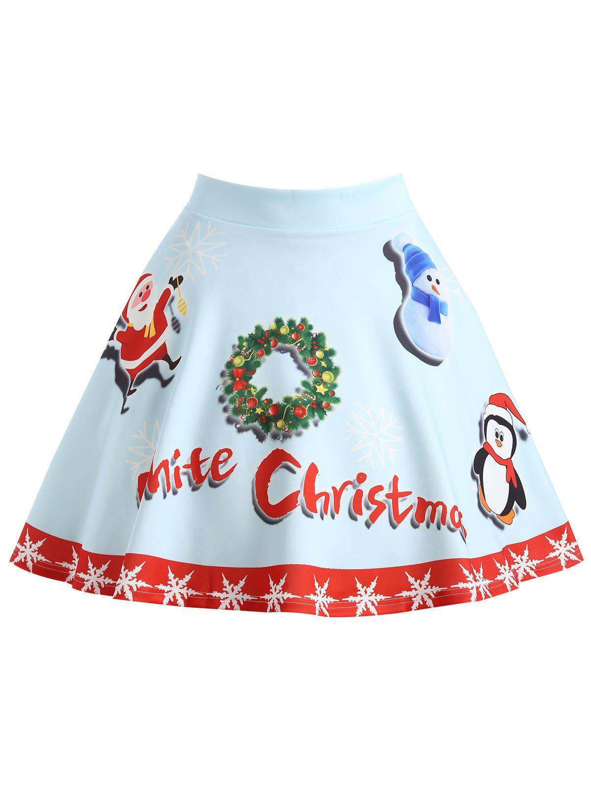 Latest Christmas Garland Snowman Santa Claus Plus Size Skirt