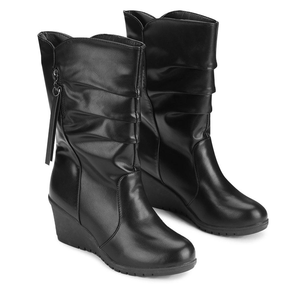 Shop Wedge Heel Ruched Mid Calf Boots