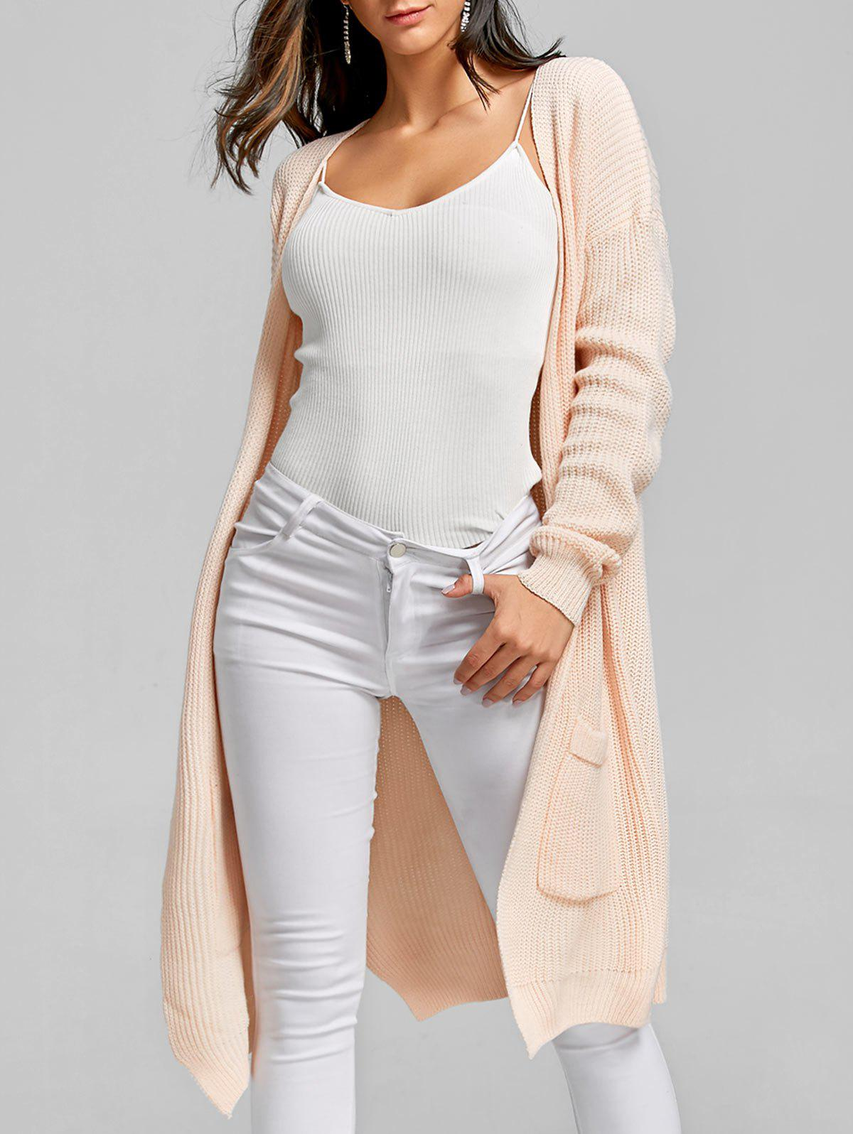 Open Front Pockets Long CardiganWOMEN<br><br>Size: ONE SIZE; Color: PINK; Type: Cardigans; Material: Acrylic; Sleeve Length: Full; Collar: Collarless; Style: Fashion; Pattern Type: Solid; Season: Fall,Spring; Weight: 0.5500kg; Package Contents: 1 x Cardigan;