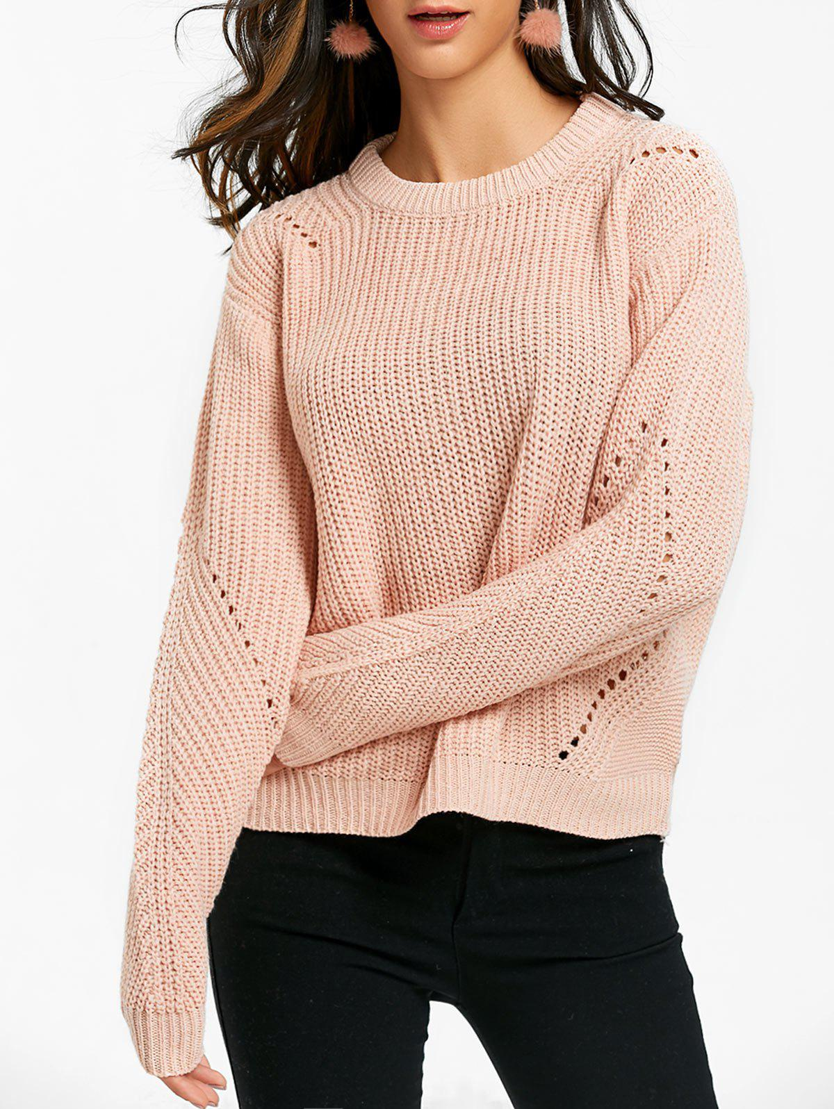 Unique Crew Neck Hollow Out Knit Chunky Sweater